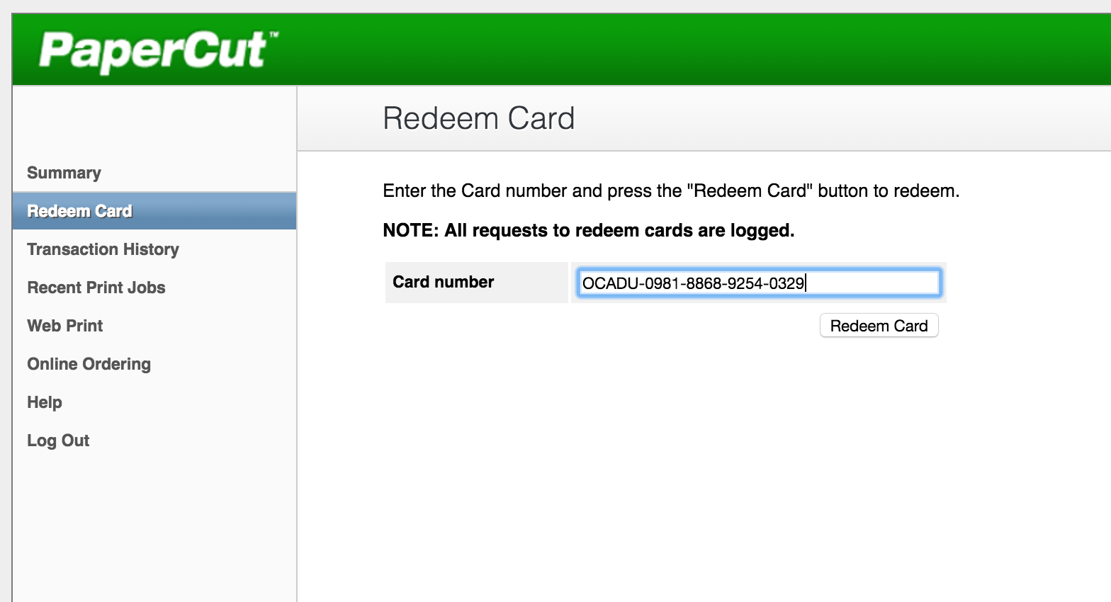 Redeem Card Step 1