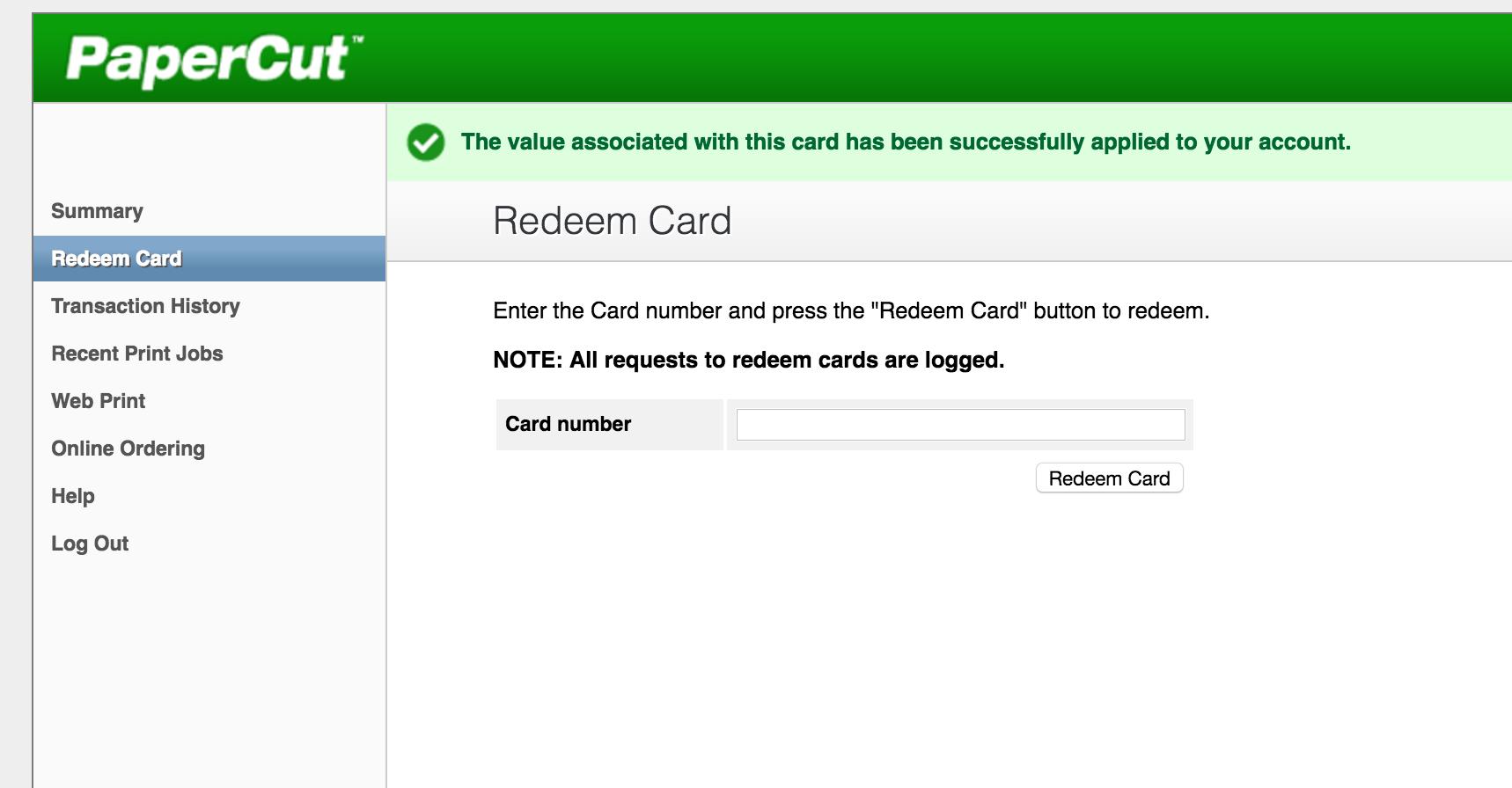Redeem Card Step 2