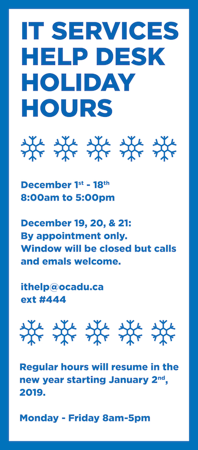IT Help Desk Holiday Hours